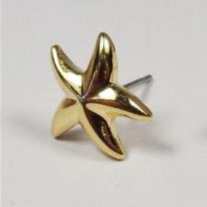 NAUTICAL GOLD TONE STARFISH SEA LIFE POST EARRINGS